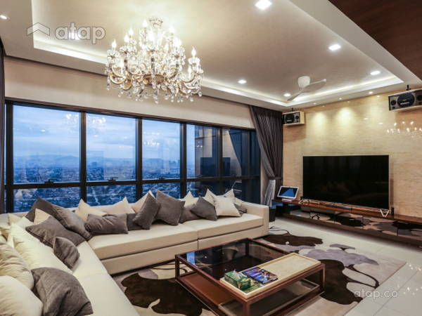 Classic Contemporary Family Room Living Room@luxury condominium unit @ Icon City Condominium