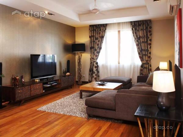 Rustic Asian Family Room Living Room@Damansara Bungalow