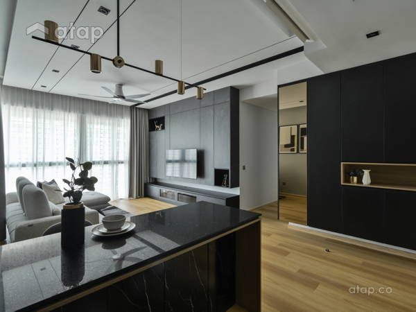 Contemporary Modern Living Room@Dark Contemporary House