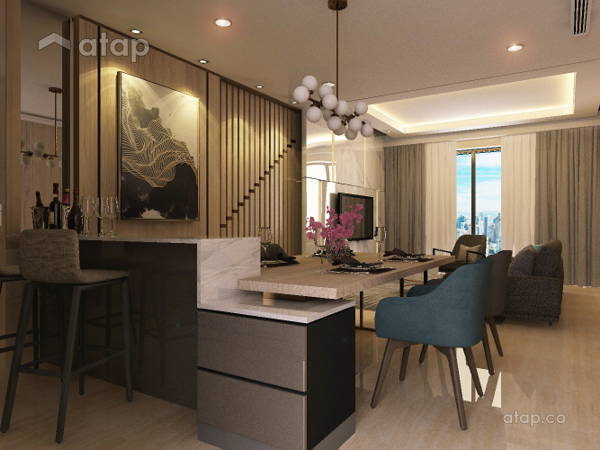 Contemporary Dining Room Kitchen@Exclusive Condominium in KL
