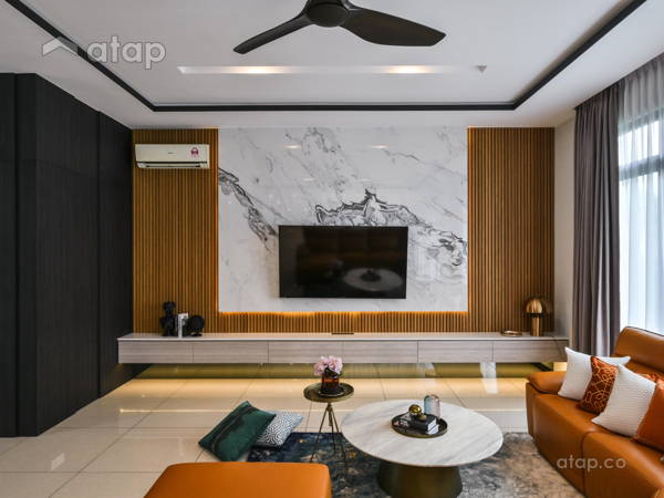 Contemporary Living Room@Straits View Residences, Modern Oriental Living