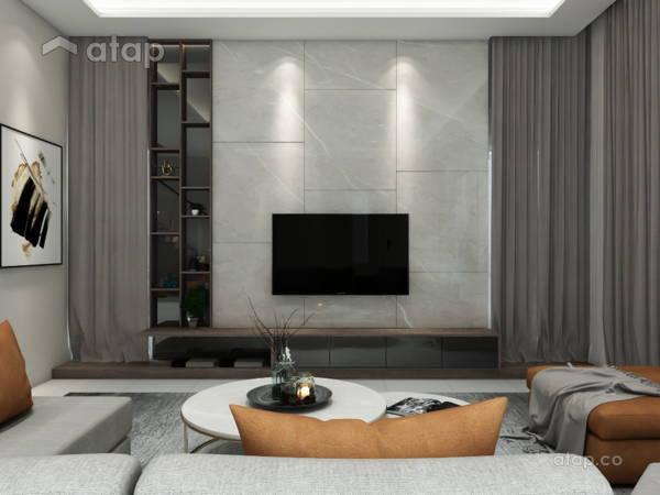 Contemporary Modern Living Room@Modern Semi-detached House @ Temasya Tropicale, Glenmarie