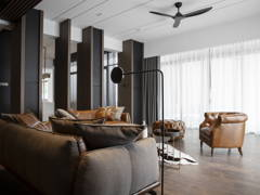 Contemporary Minimalistic Family Room Living Room@DARK AESTHETIC - Semi D, Taman melawati