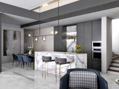 Contemporary Dining Room Kitchen@Cheria Residence, Tropicana Aman