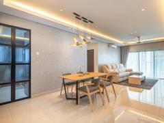 Contemporary Modern Dining Room Living Room@Altered White @ Landmark Residence 1, Bandar Sungai Long