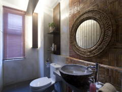 Asian Rustic Bathroom@Wood, Stones and sky garden