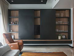 Contemporary Living Room@Sleek and dark
