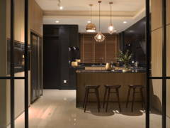 Contemporary Minimalistic Kitchen@A palette of black- Penthouse at Mont Kiara, KL