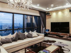 Minimalistic Vintage Family Room Living Room@luxury condominium unit @ Icon City Condominium