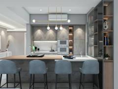 Contemporary Modern Dining Room Kitchen@Modern Stylist Condominium @ Zehn Bukit Pantai Condo