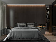 Contemporary Bedroom@Solemn, sleek interior- A house of their own