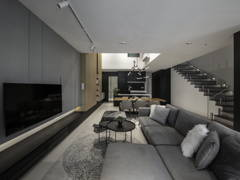 Contemporary Minimalistic Kitchen Living Room@Pure of feild - Three storey superlink