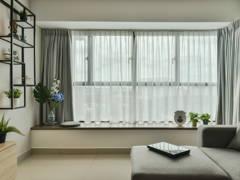 Industrial Minimalistic Living Room@The Leafz Condominium