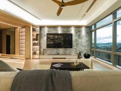 Scandinavian Vintage Family Room Living Room@Urban Luxury Sleek Contemporary