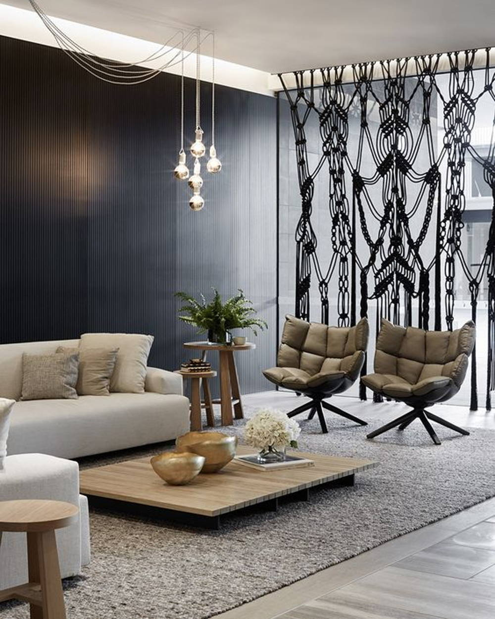 Curtain divider living room