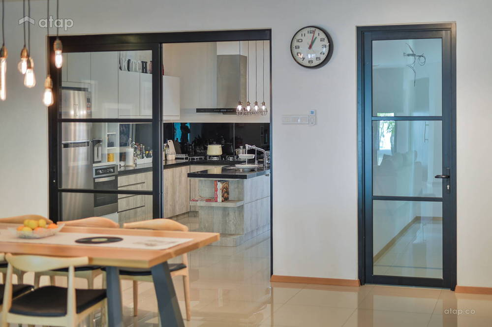 sliding door kitchen