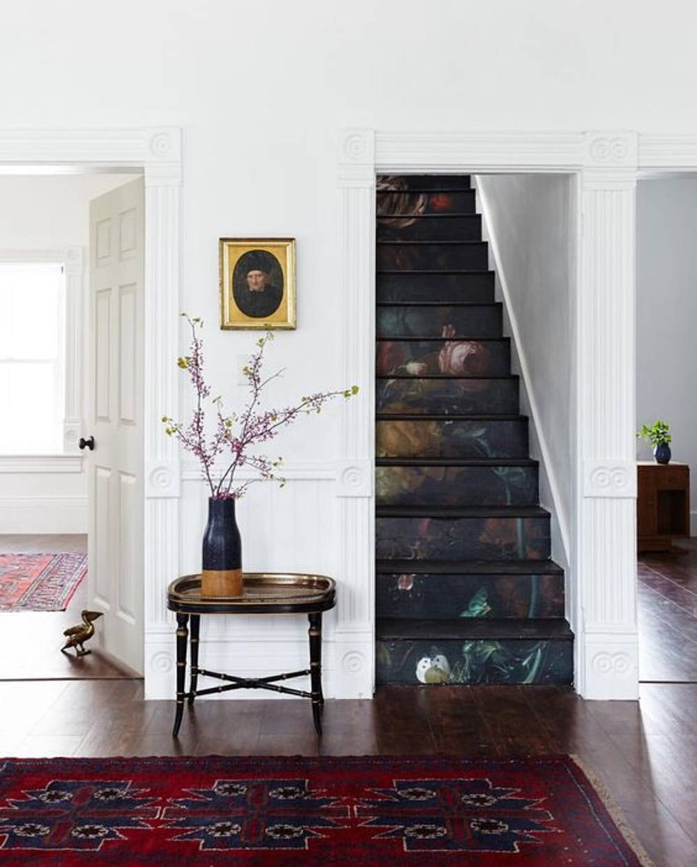 floral wallpaper steps
