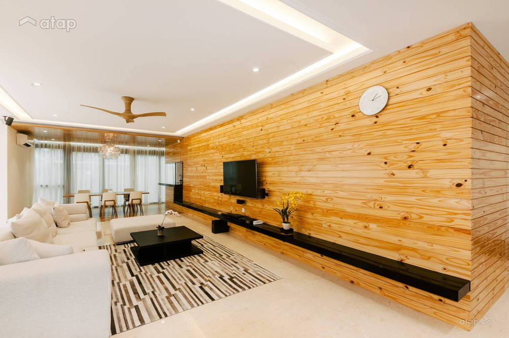 living area wooden wall