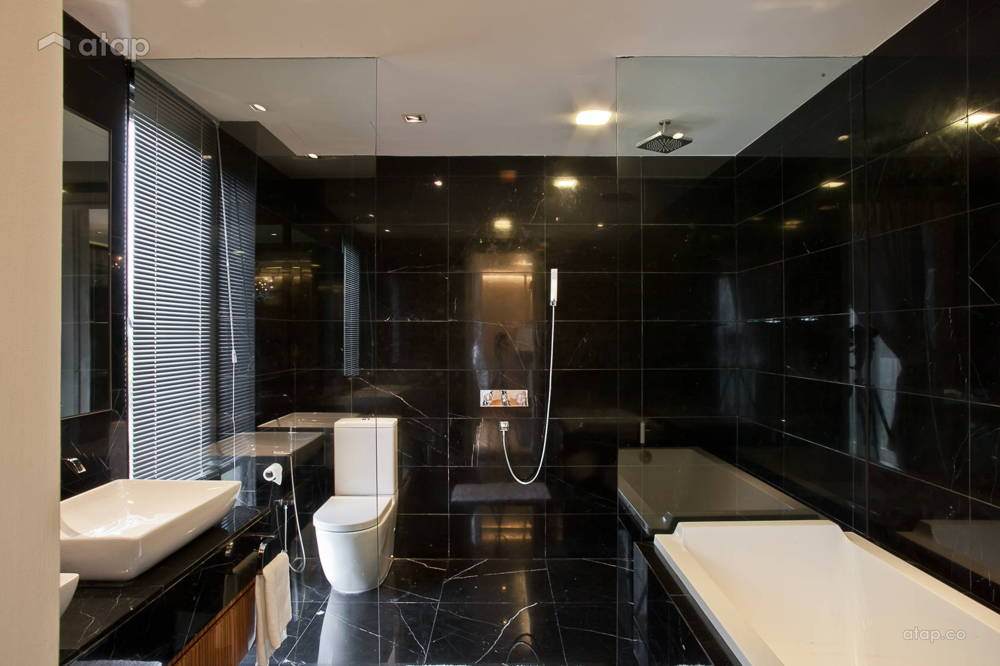 black bathroom tiles