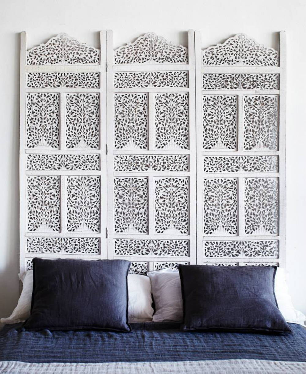 Floral screen headboard