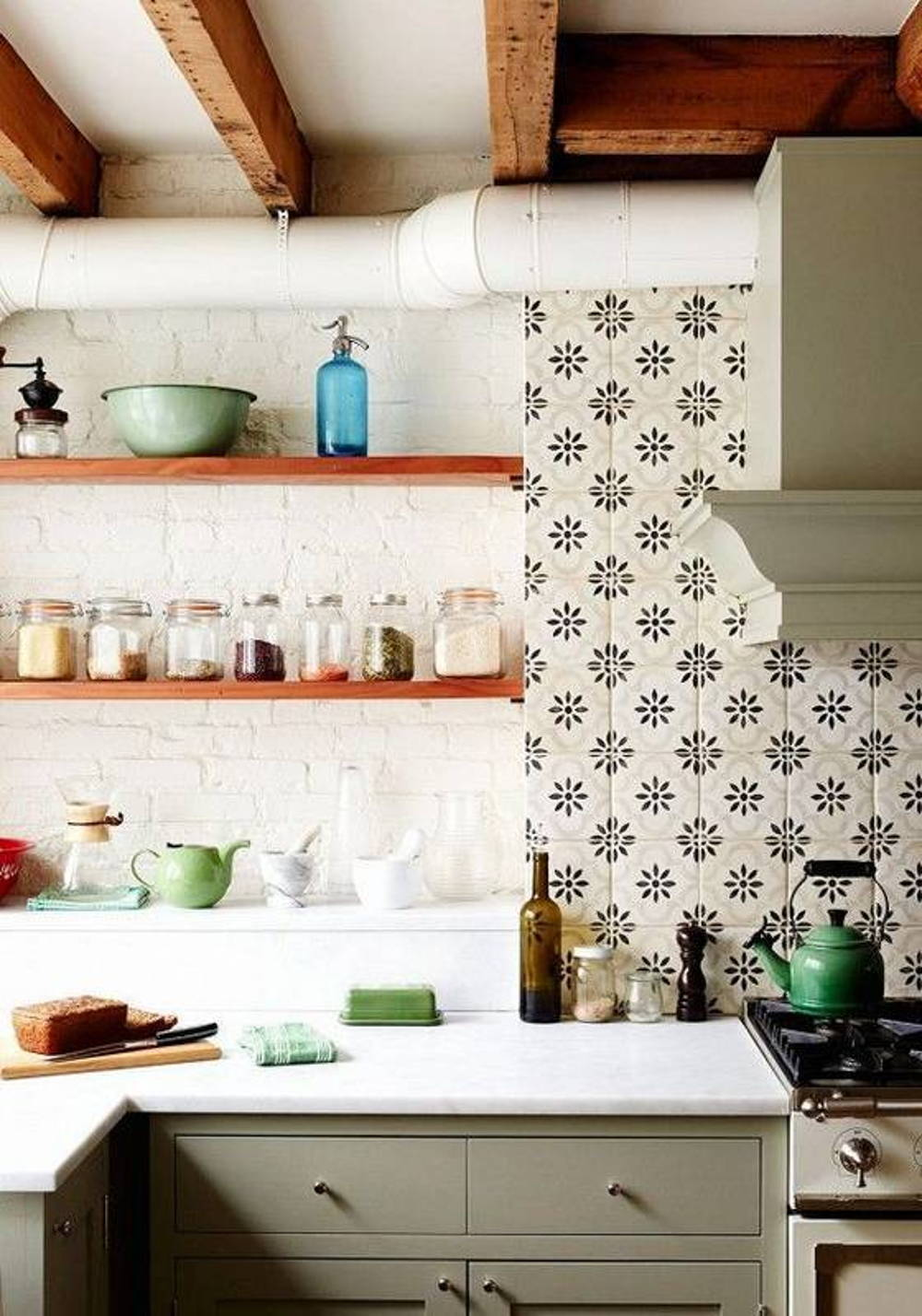 Floral kitchen backsplash tiles