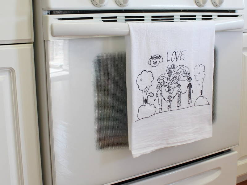 children's art tea towel