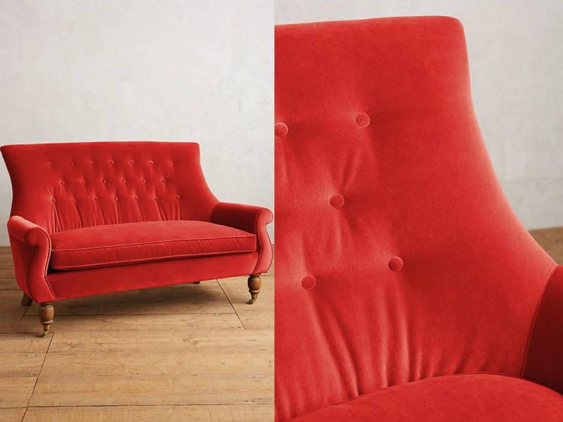 red velvet couch