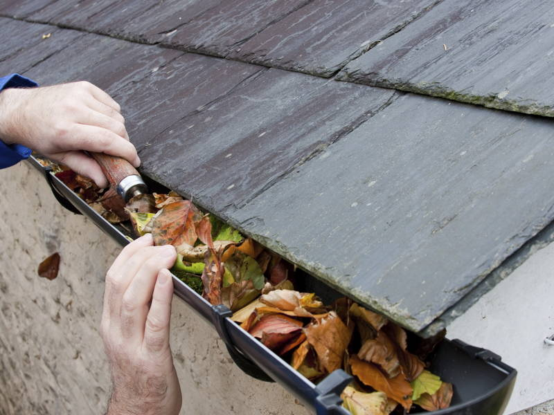cleaning out clogged gutters