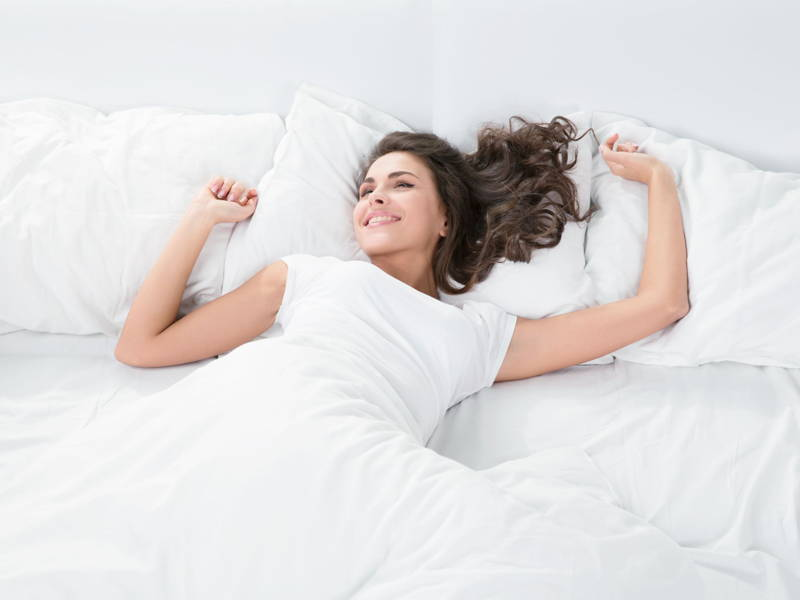 Woman sleep happy