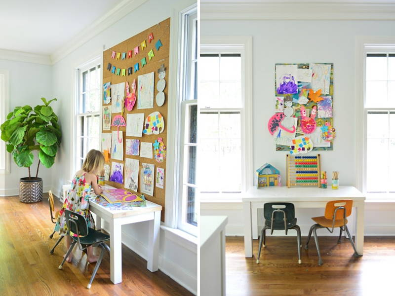 children's art corkboard