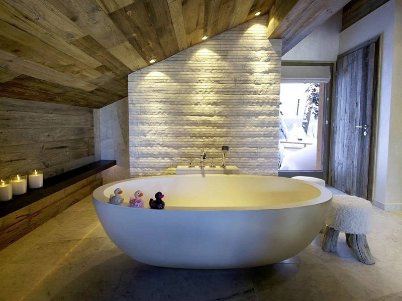 Wood ceiling bathroom