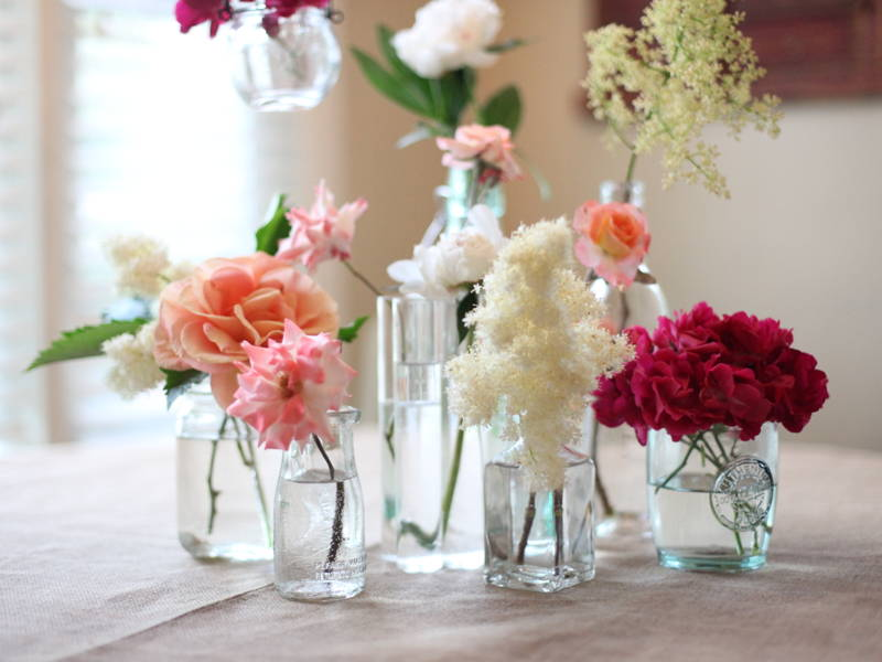 Flowers in glassware