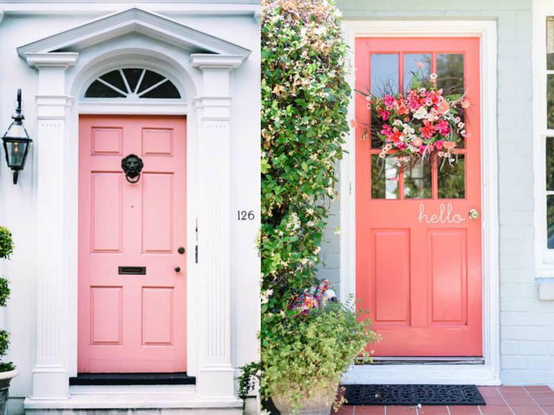 pink home door