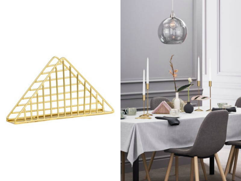 golden napkin table holder