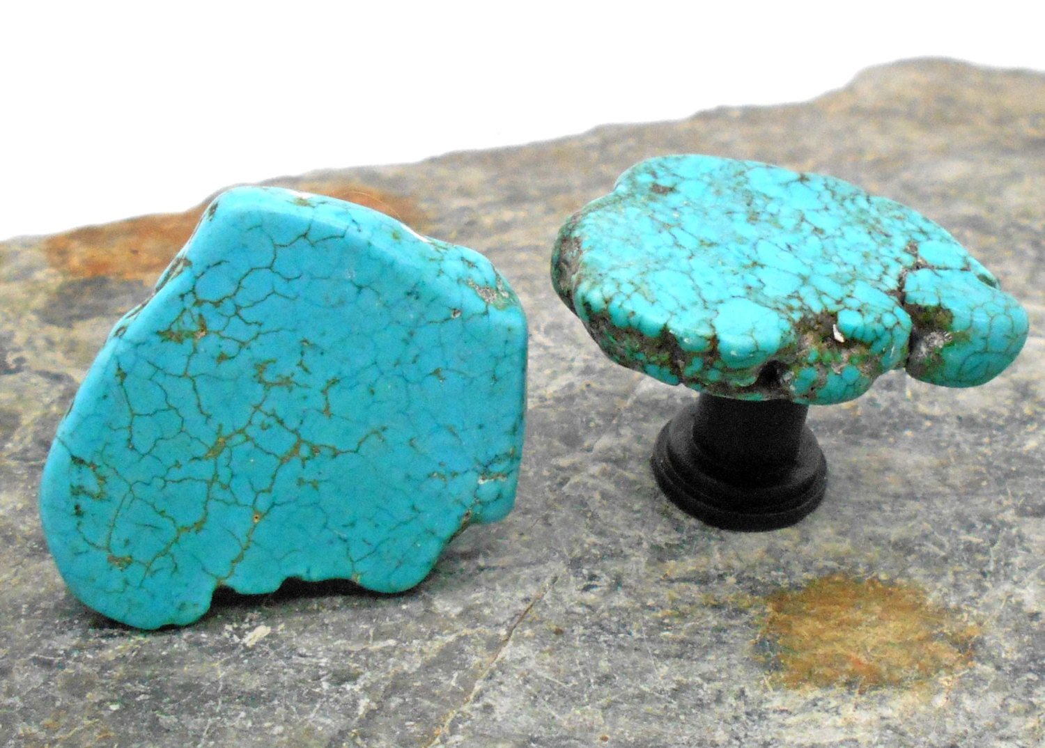 Raw turquoise drawer knob