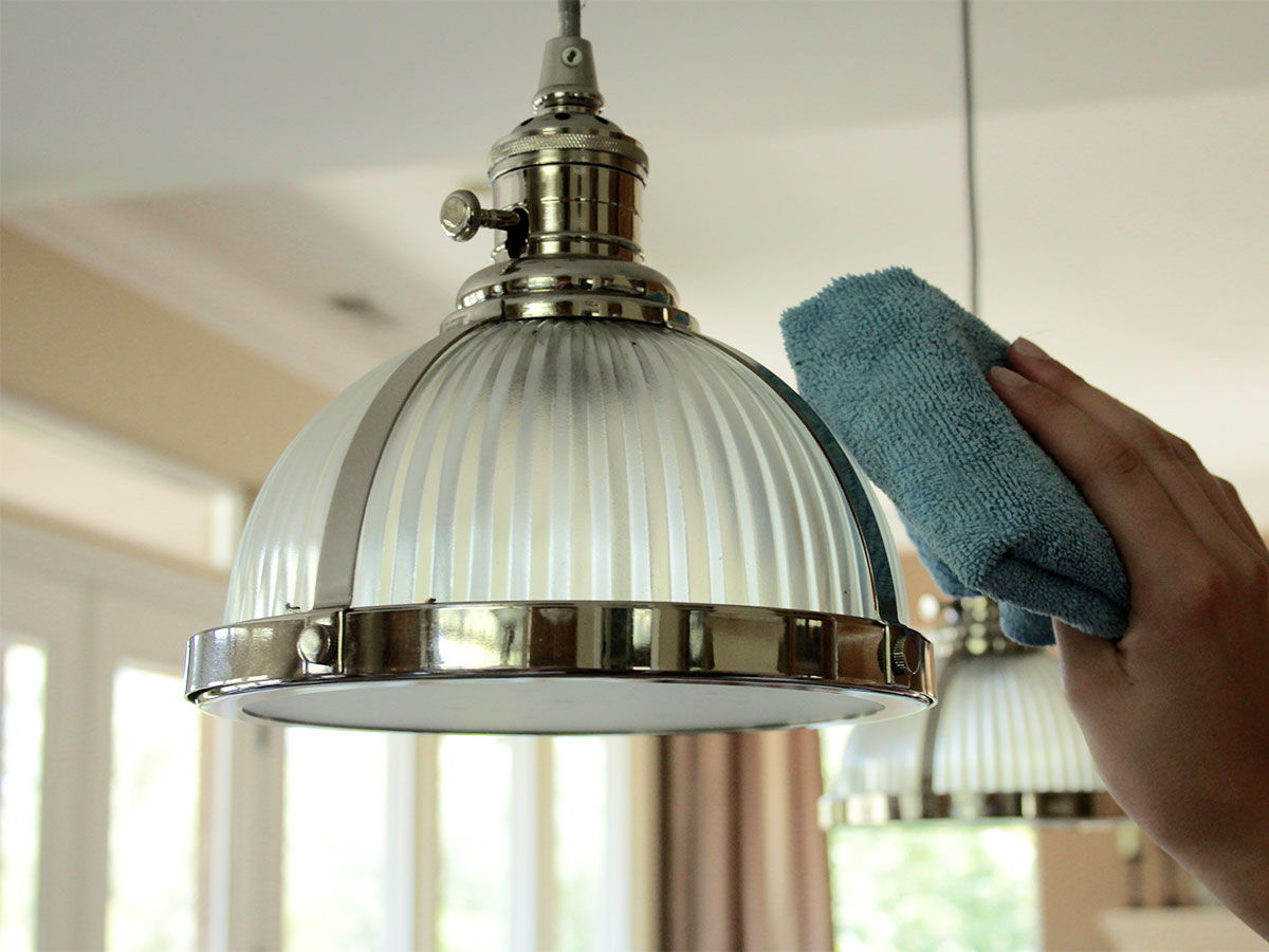 Cleaning ceiling light