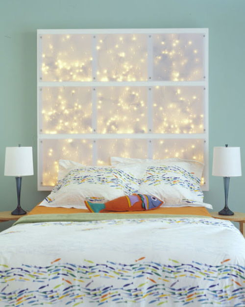 fairy lights headboard