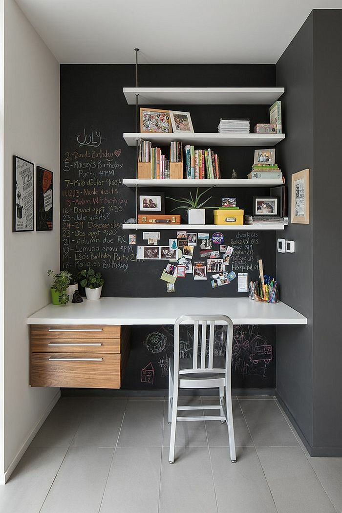 Wall shelves study room