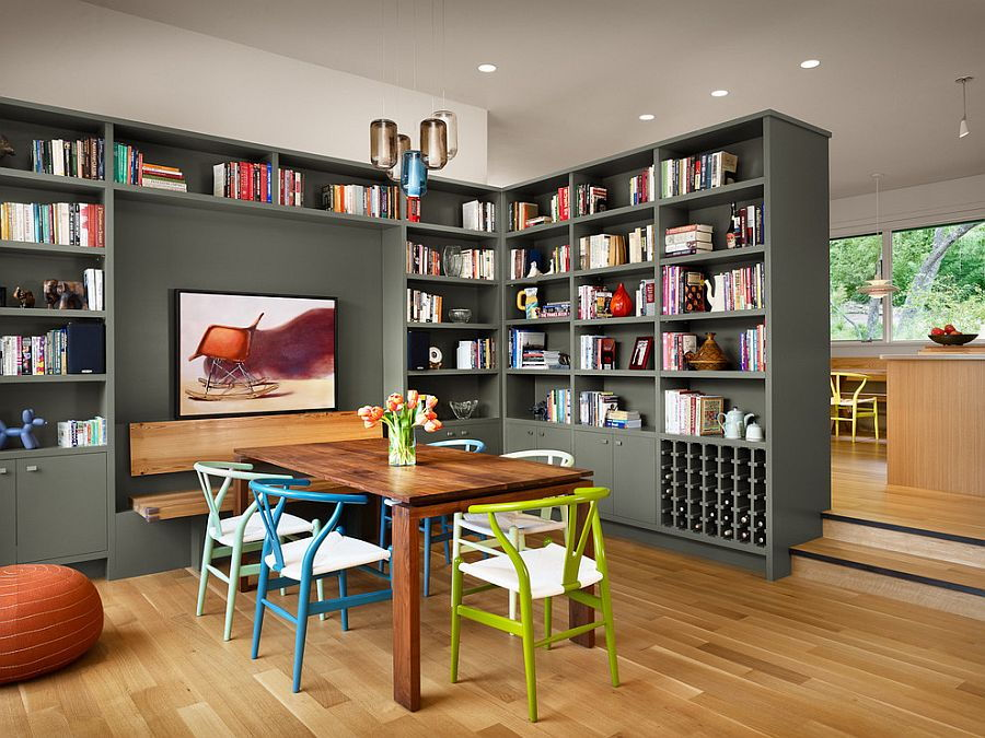 Dining area bookshelf