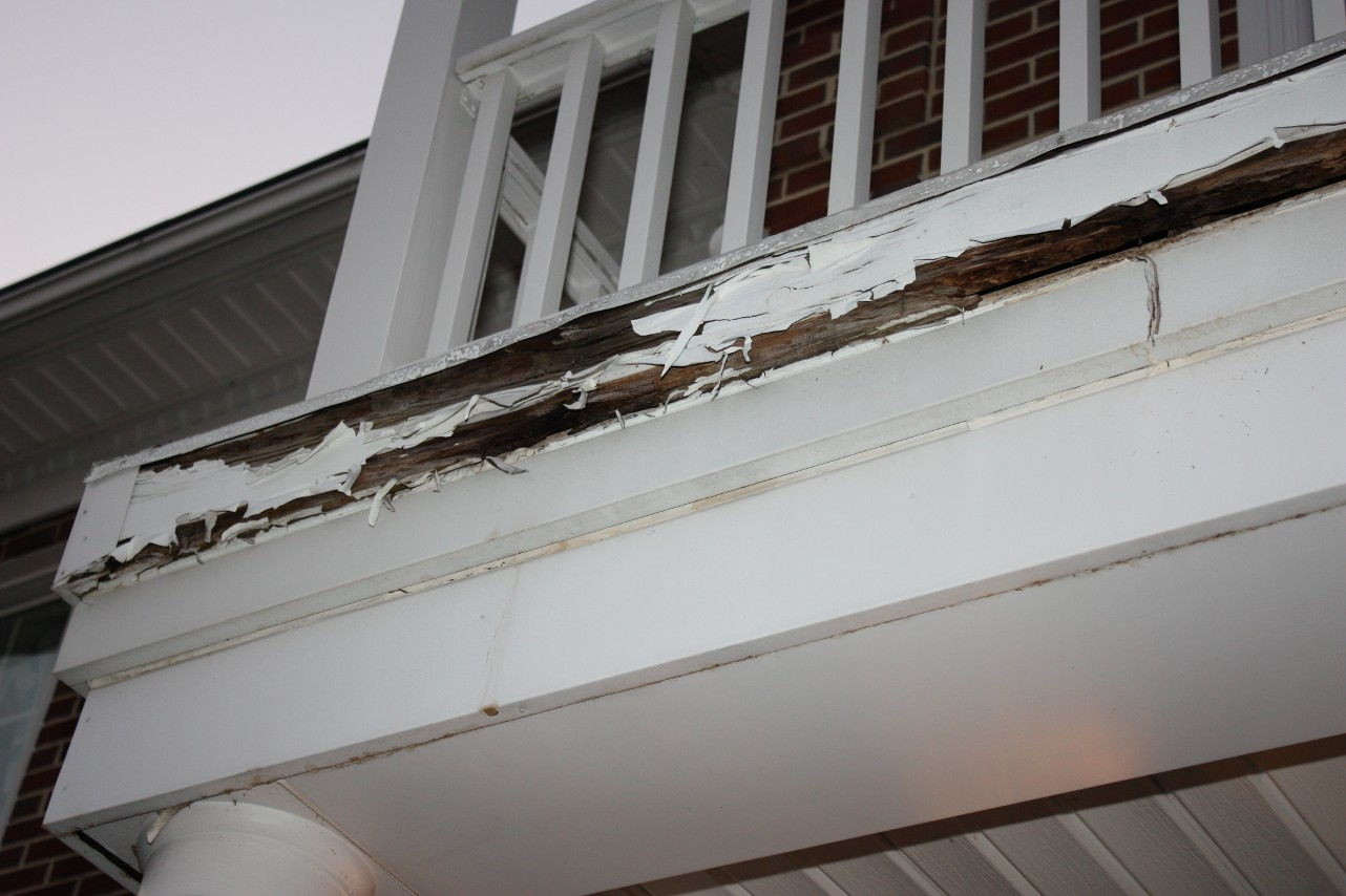 balcony with rotten wood