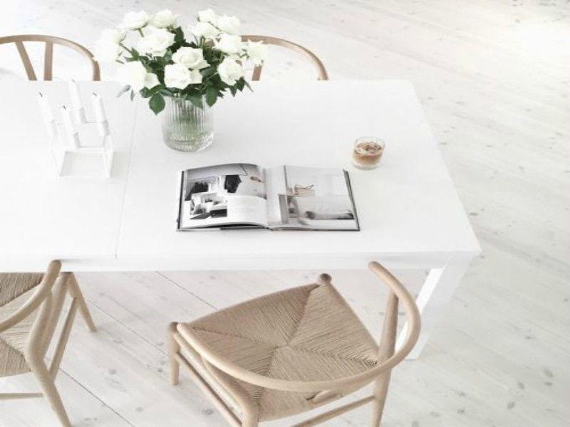 white minimalistic dining table