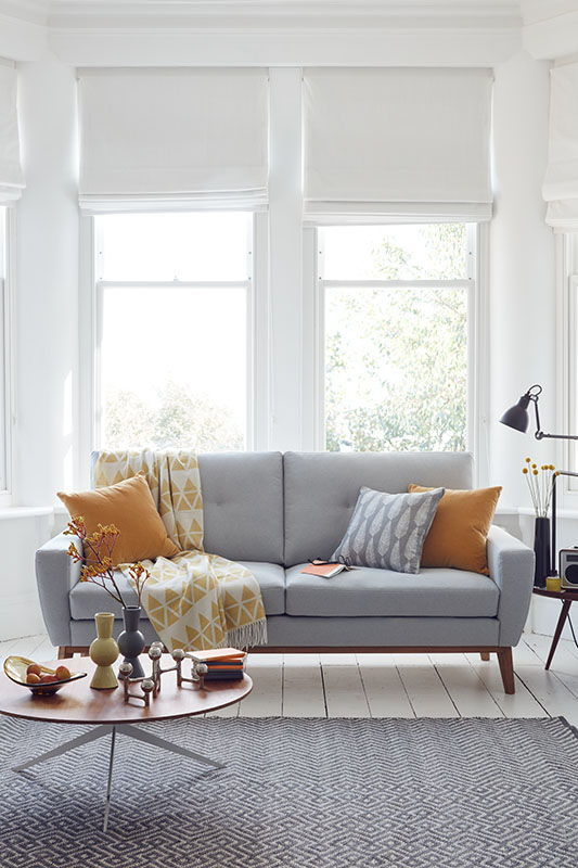 grey yellow living room
