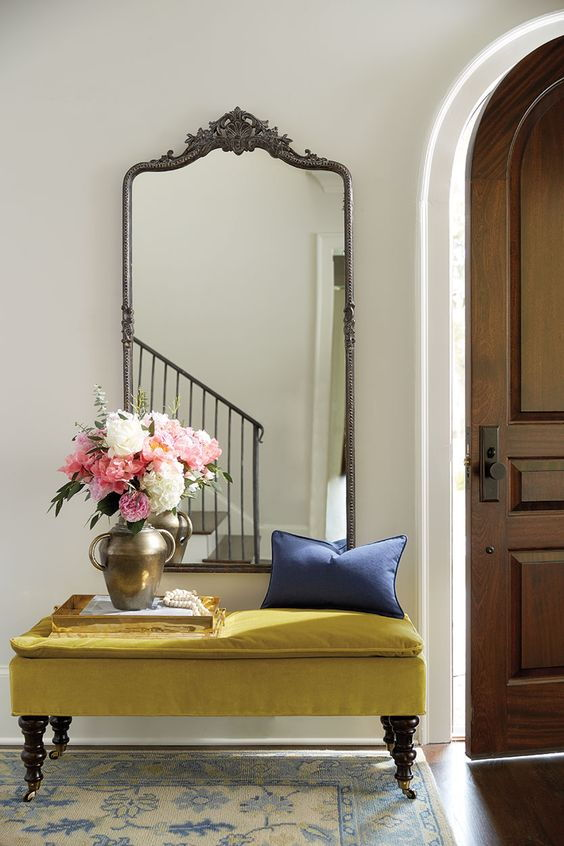 vintage mirror entryway