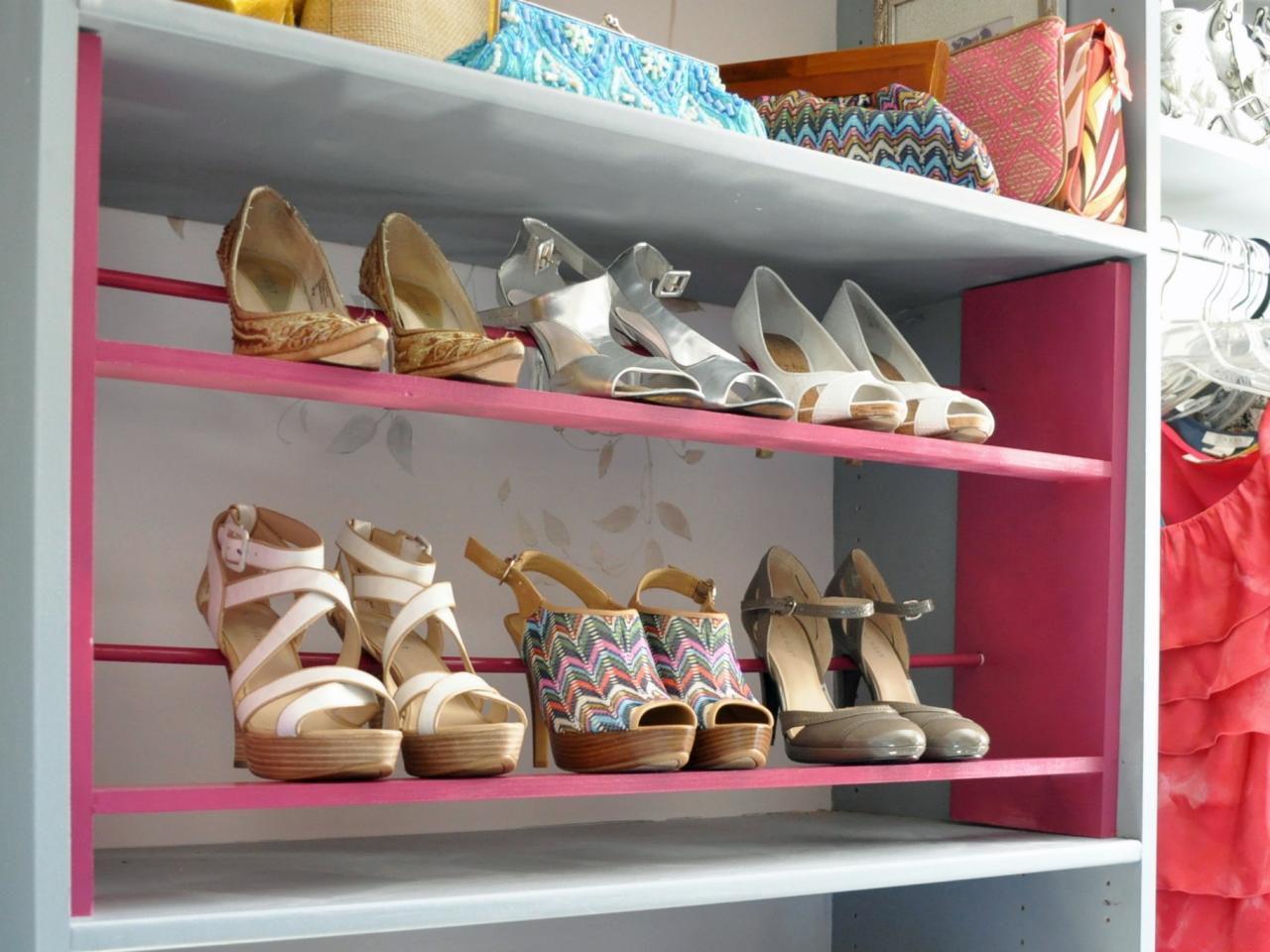 pink shoe rack