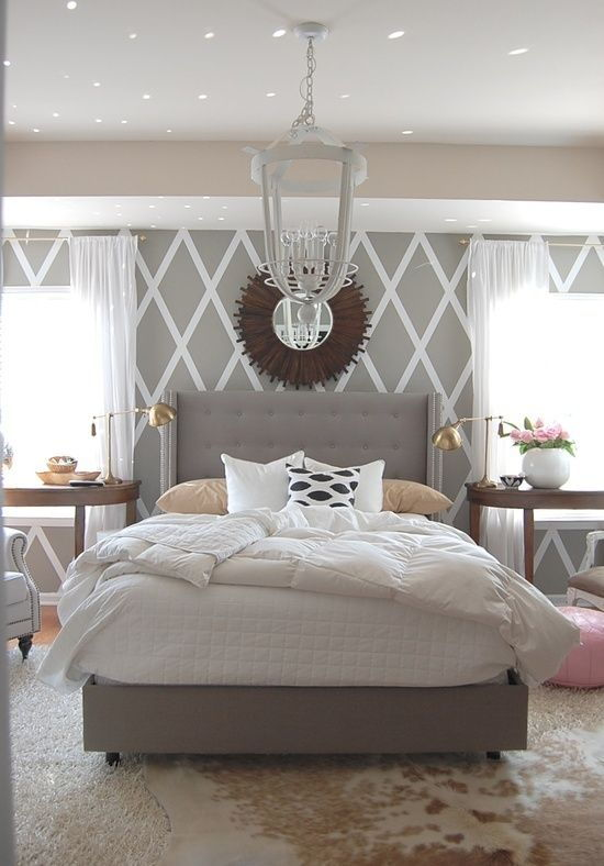 grey and pink bedroom