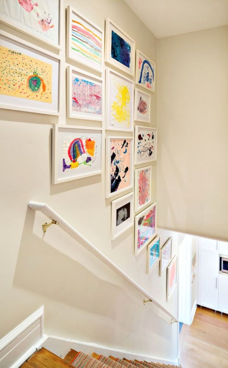 children's art gallery wall stairs