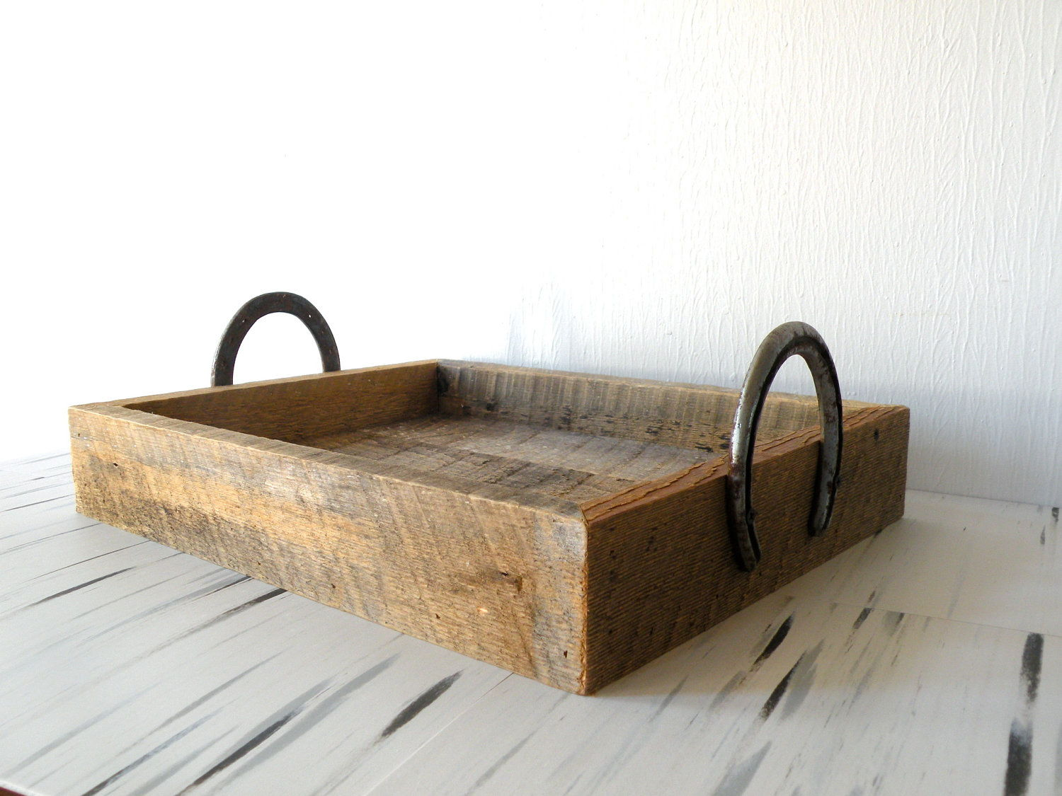 upcycled horse shoe tray