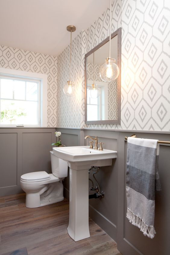 Wainscot wallpaper washroom