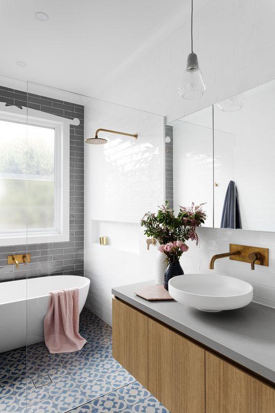 Wood counter bathroom