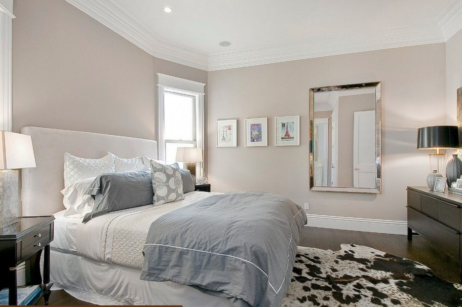 Blush grey bedroom design